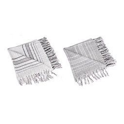 Gray and Ivory Border Stripe Throws, Set of 2