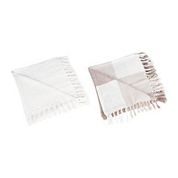 Tan and Ivory Colorblock Throws, Set of 2
