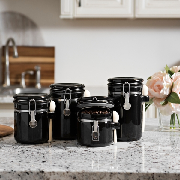 Beau Black Ceramic Canisters With Wood Spoons, Set Of 4