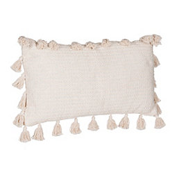 Natural Marker Accent Pillow with Tassels