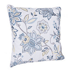 Blue and Yellow Multi Floral Embroidered Pillow