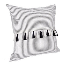 Black and White Ethan Stripe Pillow with Tassels
