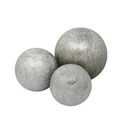 Silver Ceramic Orbs, Set of 3