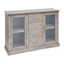 Graywash Bellmont 2 Door 4 Drawer Cabinet