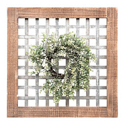 e9549eff54 Galvanized Metal Plaid Plaque with Greenery Wreath