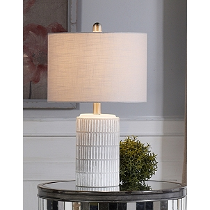 Distressed White Modern Farmhouse Table Lamp Kirklands