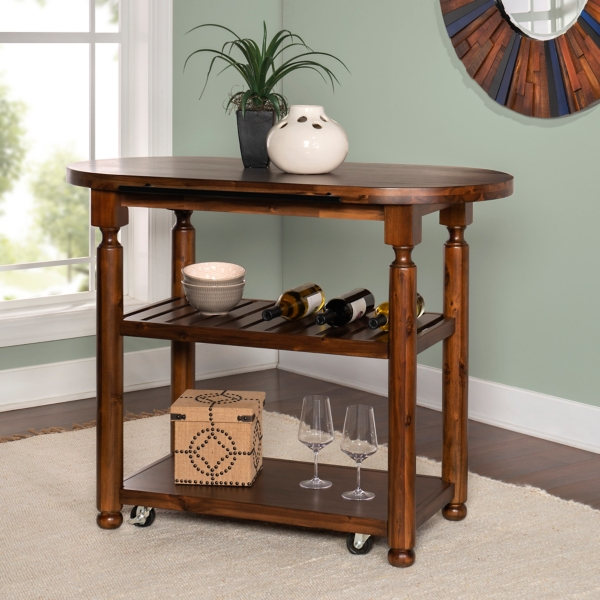 Rounded Edge Wood Kitchen Cart