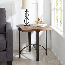 square liam accent table with metal base 24 in