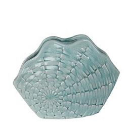 Coastal Blue Ceramic Vase 12 In