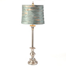 Blue Pleated Metal Buffet Lamp at Kirkland's