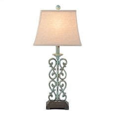 Metal Blue Scroll Table Lamp at Kirkland's