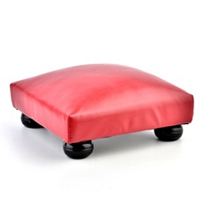 Red Faux Leather Ottoman at Kirkland's