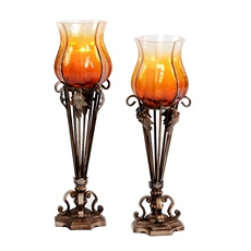 Metal & Amber Glass Candle Holder, Set of 2 at Kirkland's