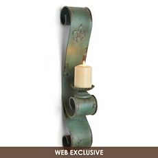 Distressed Green Metal Fleur-de-Lis Sconce at Kirkland's