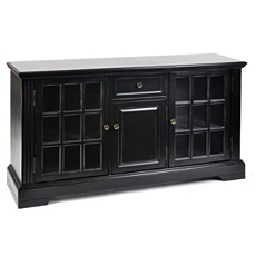 Wood Black 3-Door Media Cabinet at Kirkland's