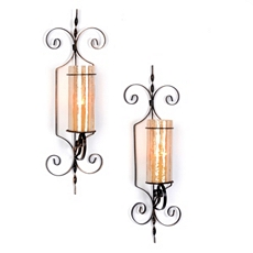 Bristol Amber Crackle Sconce, Set of 2 at Kirkland's