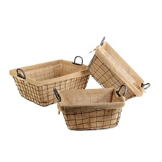Metal & Burlap Basket, Set of 3 at Kirkland's