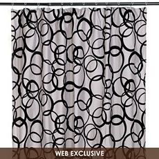 Black & Gray Flocked Circles Shower Curtain at Kirkland's