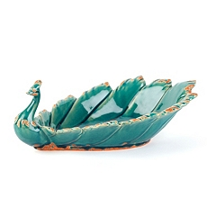 Teal Ceramic Peacock Bowl at Kirkland's