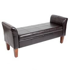 Brown Faux Leather Storage Bench at Kirkland's