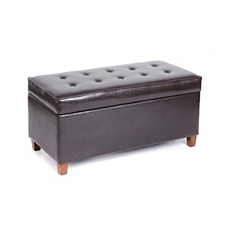 Elsa Brown Faux Leather Storage Bench at Kirkland's