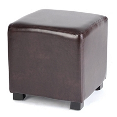 Chocolate Faux Leather Ottoman at Kirkland's