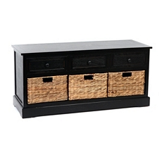Black Storage Bench with Baskets at Kirkland's
