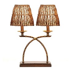 Rattan Dual Table Lamp at Kirkland's