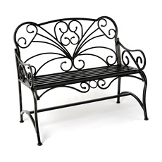 Black Metal Scroll Patio Bench at Kirkland's