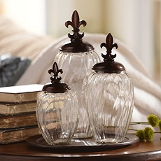 Glass Fleur-de-Lis Jar, Set of 3 at Kirkland's