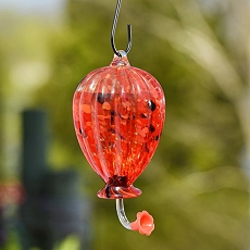 Red Blown Glass Hummingbird Feeder at Kirkland's