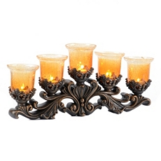 Brass Amber Crackle 5-Candle Runner at Kirkland's