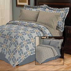 Zayden Blue 8-pc. Reversible Queen Bedding Set at Kirkland's