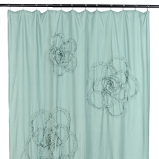Aqua Gathered Flower Shower Curtain at Kirkland's