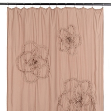 Taupe Gathered Flower Shower Curtain at Kirkland's