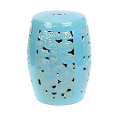 Blue Floral Ceramic Stool at Kirkland's