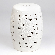 White Floral Ceramic Stool at Kirkland's