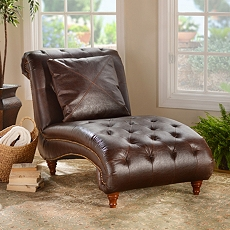 Walnut Leather Chaise Lounger at Kirkland's