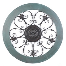 Turquoise Fleur-de-Lis Medallion Metal Wall Art at Kirkland's