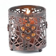 Pierced Metal Jeweled Votive Holder at Kirkland's