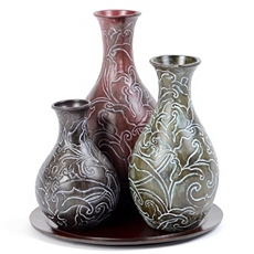 Jeweled Vine Ceramic Vase, Set of 3 at Kirkland's