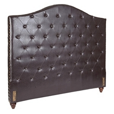 Espresso Faux Leather Tufted Queen Headboard at Kirkland's