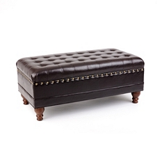 Espresso Faux Leather Tufted Storage Bench at Kirkland's