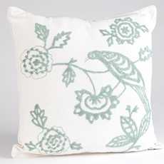 Turquoise & White Ari Bird Cord Pillow at Kirkland's
