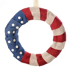 Americana Burlap Wreath with Buttons at Kirkland's