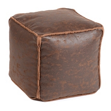 Antique Brown Faux Leather Ottoman at Kirkland's