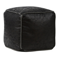 Antique Black Faux Leather Ottoman at Kirkland's