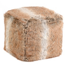Light Brown Faux Fur Ottoman at Kirkland's