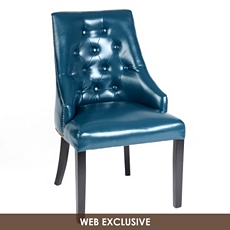 Blue Leather Henry Accent Chair at Kirkland's