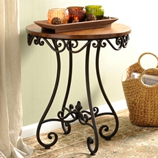 Renea Scrolled Wood & Metal Accent Table at Kirkland's